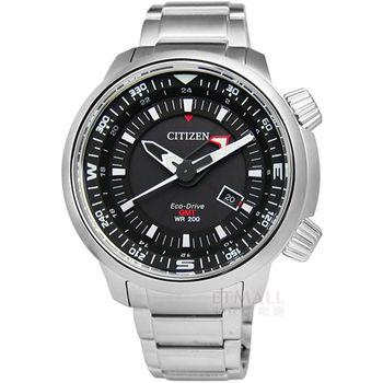CITIZEN / BJ7081-51E /Eco-Drive 時尚霸氣光動能不鏽鋼腕錶 黑 50mm