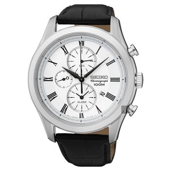 SEIKO精工 CS 紳士羅馬計時腕錶-銀/43mm 7T62-0LJ0W(SNAF69P1)