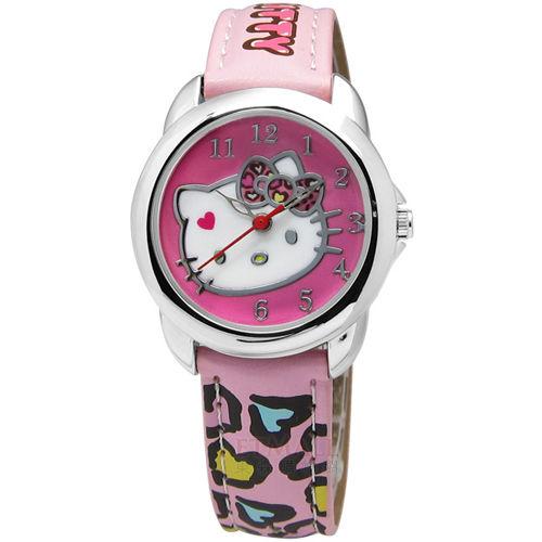 Hello Kitty 甜心卡通錶 豹紋 愛心 指針 粉紅色 29mm / HKFR1220-01A