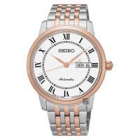 SEIKO精工 Presage 羅馬經典機械腕錶-白x雙色版/40mm 4R36-04E0G(SRP766J1)