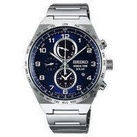 SEIKO 精工 SPIRIT 太陽能兩地時間計時腕錶-藍/41mm V195-0AE0B(SBPJ023J)