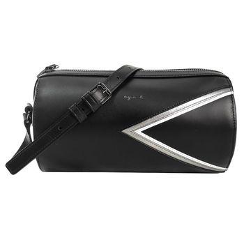 agnes b.  燙金logo三角幾何圓桶皮革斜背包(黑/銀邊)