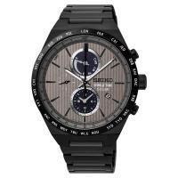 SEIKO 精工 SPIRIT 太陽能兩地時間計時腕錶-灰x鍍黑 V195-0AE0N(SSC527J1)