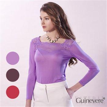 【唐絹】100%蠶絲細緻立體刺繡蕾絲上衣(紫色 / 紅色 / 咖啡色)