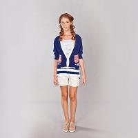 『摩達客』美國LA設計品牌【Suvnir】深藍紅格紋針織衫短版外套