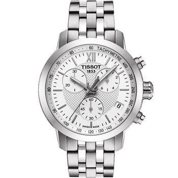 TISSOT 天梭 PRC 200 三眼計時腕錶-銀/42mm T0554171101800