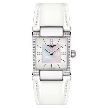 TISSOT 天梭 T02 時尚真鑽女錶-珍珠貝x白/23mm T0903106611600