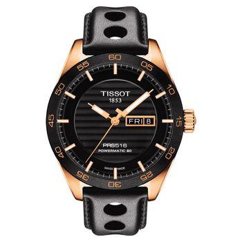 TISSOT PRS516 系列時尚機械腕錶-黑x玫塊金框/42mm T1004303605100