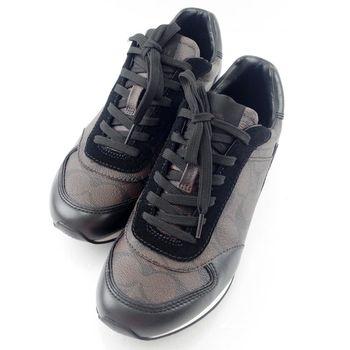 COACH 緹花LOGO防刮皮革拼接麂皮綁帶休閒鞋-深咖啡色