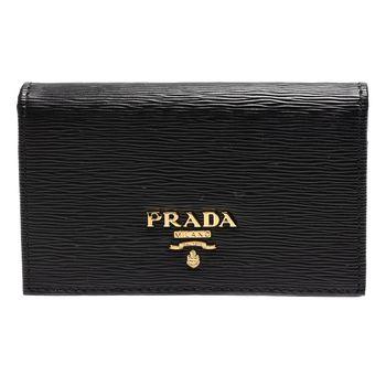PRADA Saffiano經典浮雕LOGOG水波紋牛皮釦式信用卡/名片夾(黑)