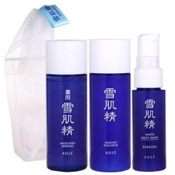 KOSE 高絲 雪肌精33ML+乳液33ML+洗顏乳20ML+網袋