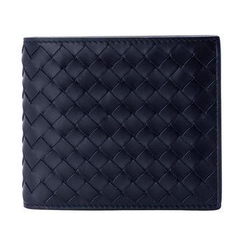 BOTTEGA VENETA 經典編織小羊皮中性萬用短夾(靛藍色/4卡-透明夾)