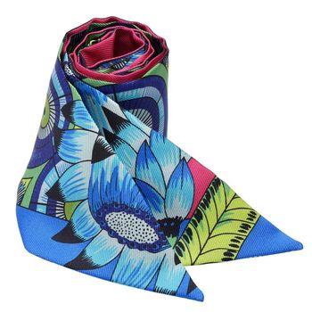 HERMES The Savana Dance繽紛造型Twilly絲巾/領結(藍X印度粉)