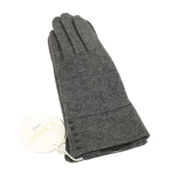 CHLOE 刺繡LOGO混喀什米爾羊毛手套(灰色)