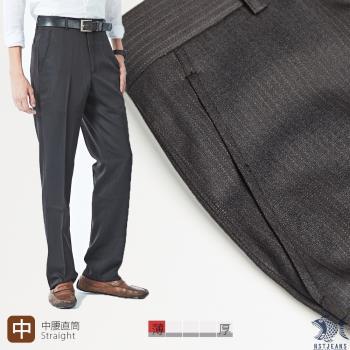 【NST Jeans】391(6930) 微細條紋 斜口袋平口西裝褲 (中腰) 平面/無打摺/年輕款式-行動