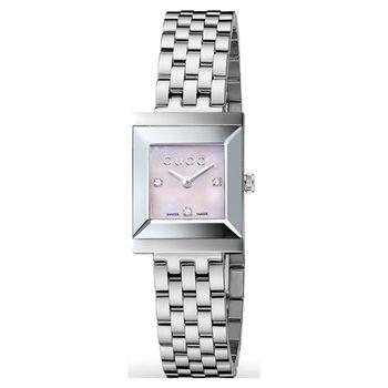GUCCI G-Frame 系列中錶徑真鑽女錶-珍珠貝x銀/19mm YA128401