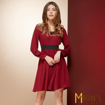 MONS法式雍容氣質V領洋裝