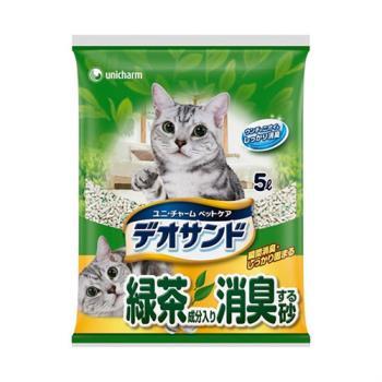 日本Unicharm消臭大師 尿尿後消臭貓砂-綠茶香(5Lx4包)