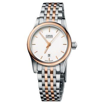 ORIS Classic 經典三針機械鋼帶女錶-半金/28mm 0156176504351-0781463