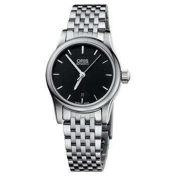 ORIS Classic 經典三針機械鋼帶女錶-黑/28mm 0156176504054-0781461