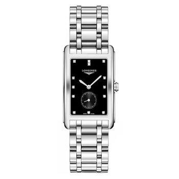 LONGINES 浪琴 DolceVita 小秒針真鑽石英女錶-黑/25mm L57554576
