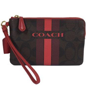 COACH 66052 馬車LOGO條紋防水PVC扣環手拿包.深咖/紅