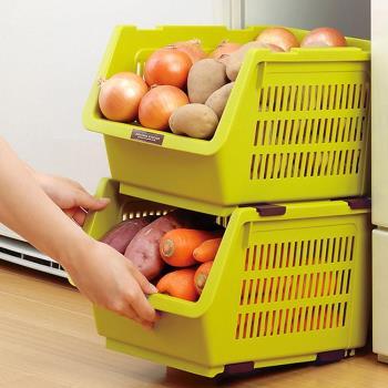 日本製造INOMATA可疊放附滑輪蔬果收納籃(芥末綠色)1入裝