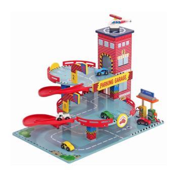 台灣【Mentari木製玩具】高樓層迴旋立體停車場(紅)