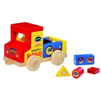 台灣【Mentari木製玩具】歡樂積木小卡車