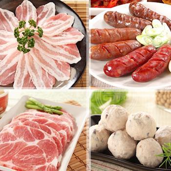 台糖安心豚 乐活烤肉六件组(香菇贡丸*1 梅花肉排*2 台式香肠蒜味*1 白玉五花肉片*2)