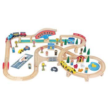 台灣【Mentari木製玩具】可動式拱橋交通軌道組