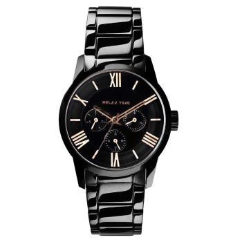 RELAX TIME RT65 羅馬情人日曆腕錶-玫瑰金時標x黑/38mm RT-65-2L