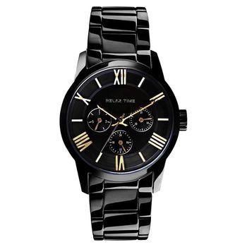 RELAX TIME RT65 羅馬情人日曆腕錶-金時標x黑/45mm RT-65-1M