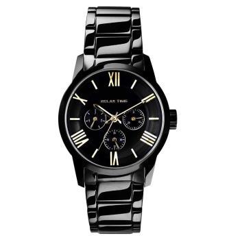 RELAX TIME RT65 羅馬情人日曆腕錶-金時標x黑/38mm RT-65-1L