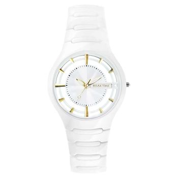RELAX TIME RT57 優雅鏤空陶瓷腕錶-白x金時標/37mm RT-57-1