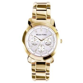 Relax Time 時尚達人日曆顯示腕錶-銀x金/38mm R0800-16-30
