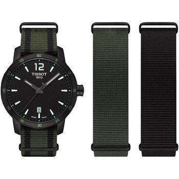 TISSOT QUICKSTER NATO 活力運動腕錶-黑x綠/40mm T0954103705700