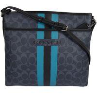 COACH 38402 經典馬車LOGO條紋防水PVC斜背包.深藍/黑邊