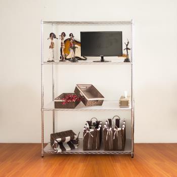 【dayneeds】120x45x180公分 (免費加贈PP板)四層鐵架/收納架/置物架/波浪架/鍍鉻層架