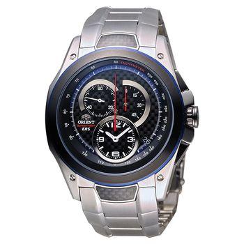 ORIENT 東方錶 SPEEDTECH系列人動電能計時男錶-黑x銀/46mm SKT00001B