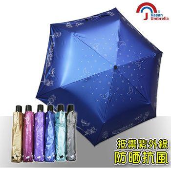 【Kasan】輕量防風抗UV自動雨傘(星空貓頭鷹寶藍款)