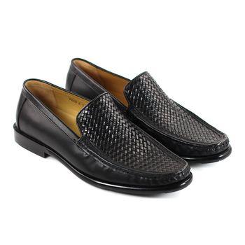 GREEN PHOENIX 牛皮編織男樂福鞋-黑色