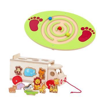 台灣【Mentari木製玩具】動物森林手拉車+益智平衡板