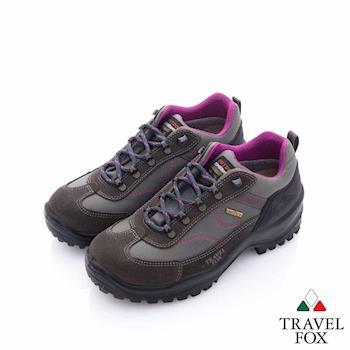 TRAVELFOX(女)休閒戶外Vibram安全大底登山越野運動鞋-粉棕