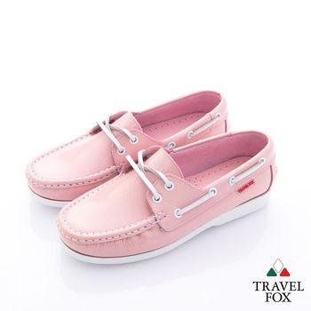 TRAVELFOX(女) - 漆亮牛皮彩色綁帶帆船鞋- 晶粉
