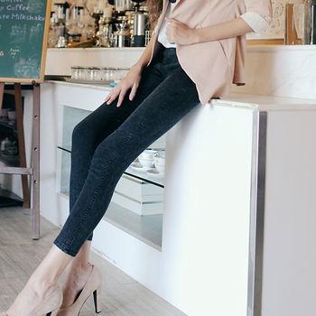 DECOBA加大專案顯瘦針織牛仔褲-,