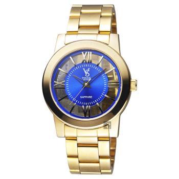 VOGUE 曼波系列鏤空藝術腕錶-藍x金/38mm 9V1601-141YG-B