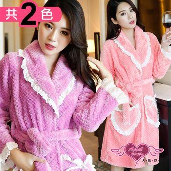天使霓裳 保暖睡袍 甜蜜心暖 柔軟珊瑚絨一件式綁帶連身睡衣(共兩色F) NA161215