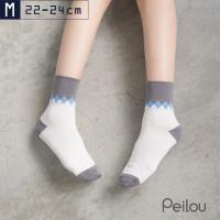 任-【貝柔】單雙-Supima機能抗菌萊卡除臭寬口襪(女款)-菱格