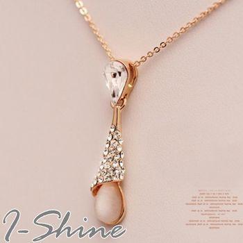 【I-Shine】韓系飾品-貓眼石水滴鑲鑽項鍊